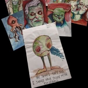 ORIGINAL ART! Zombie Sketch watercolor 1/1